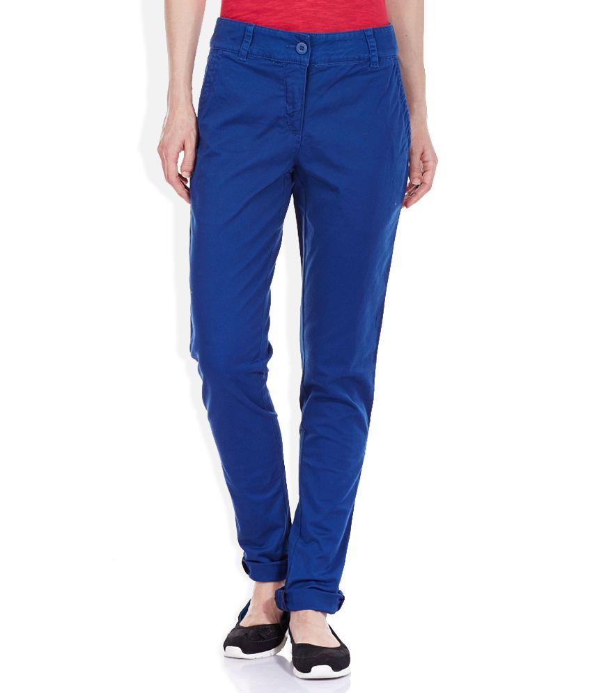 Puma Blue Cotton Trousers