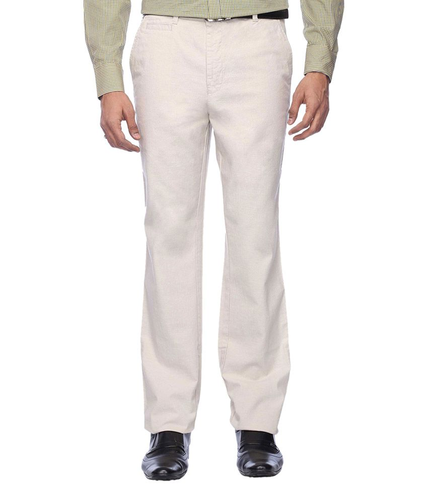 Stop by Shoppers Stop White Cotton Formal Pants