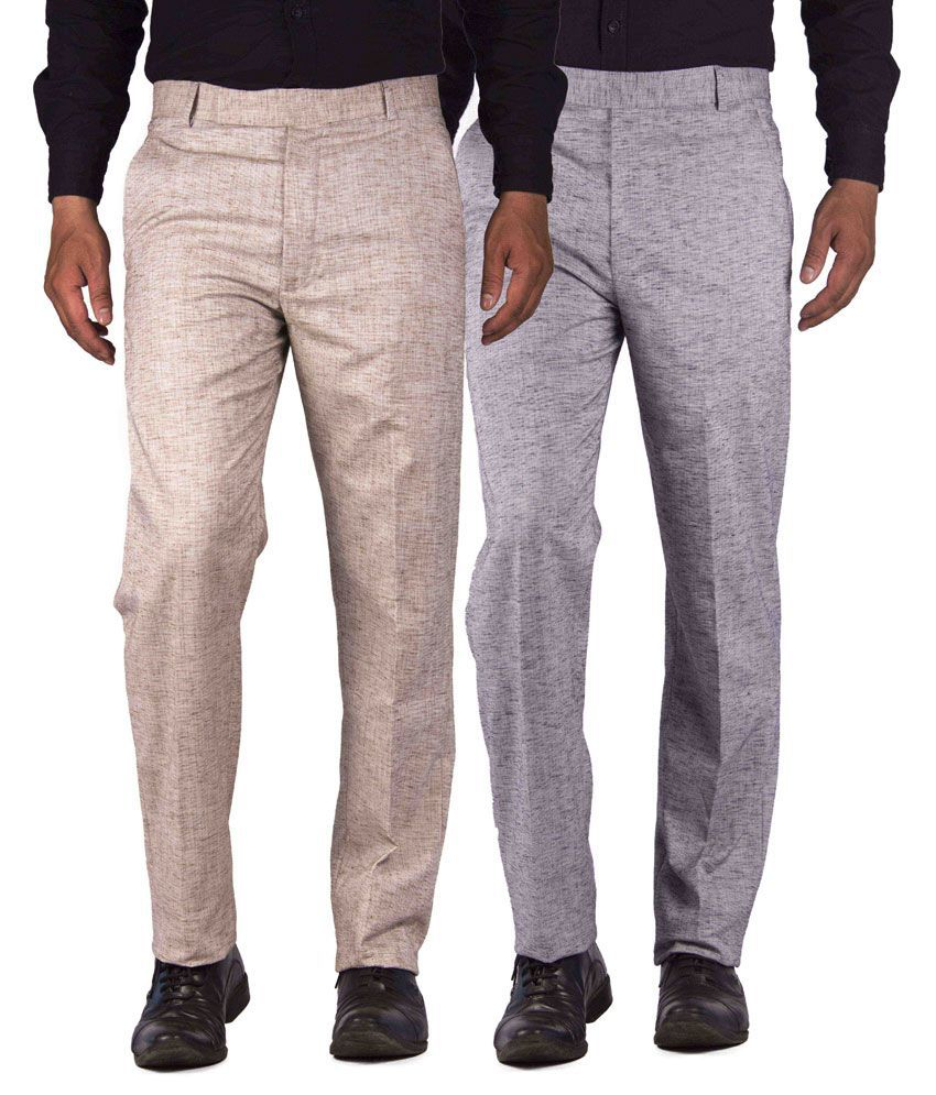 American-Elm Multicolour Cotton Blend Slim Fit Formal Trouser - Combo Of 2