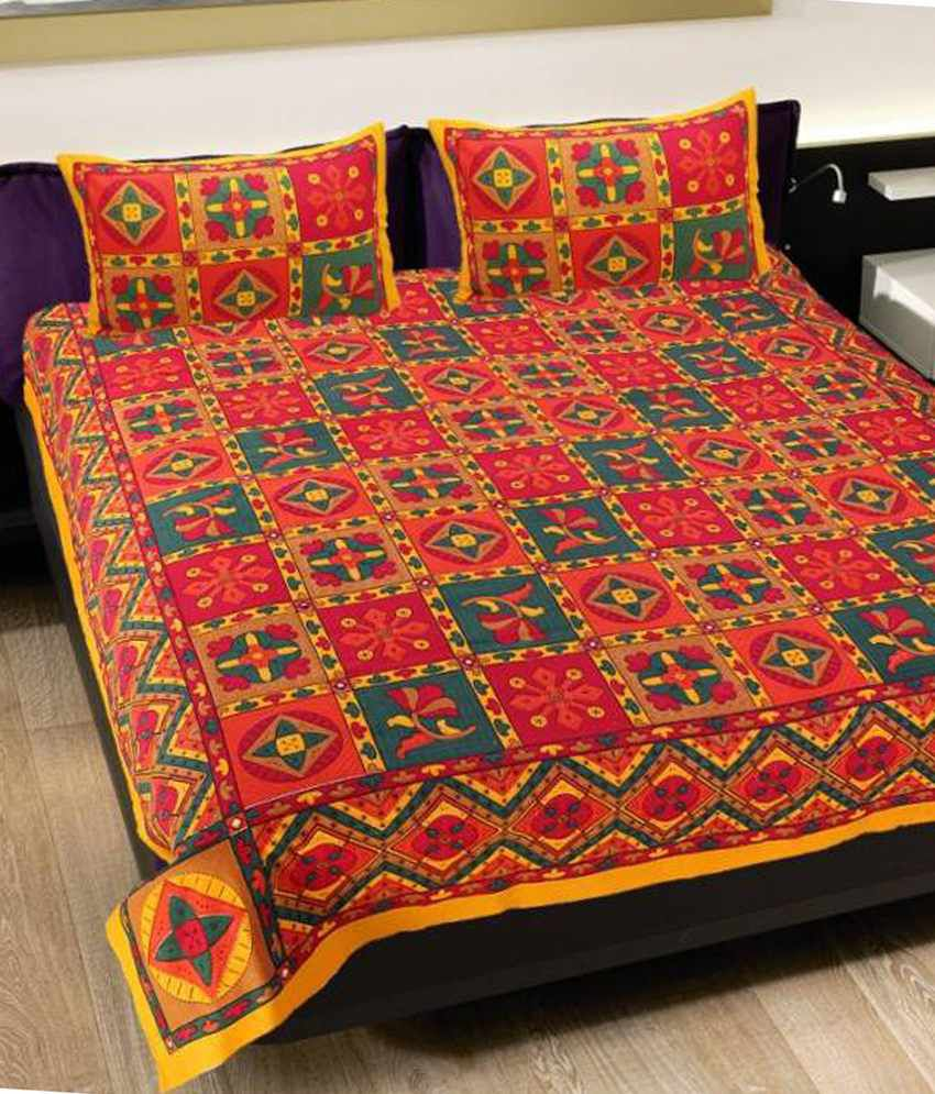 Bed sheets with price -  Grj India Rajasthani Jaipuri Print 8 Double Bed Sheet With 16 Pillow Covers
