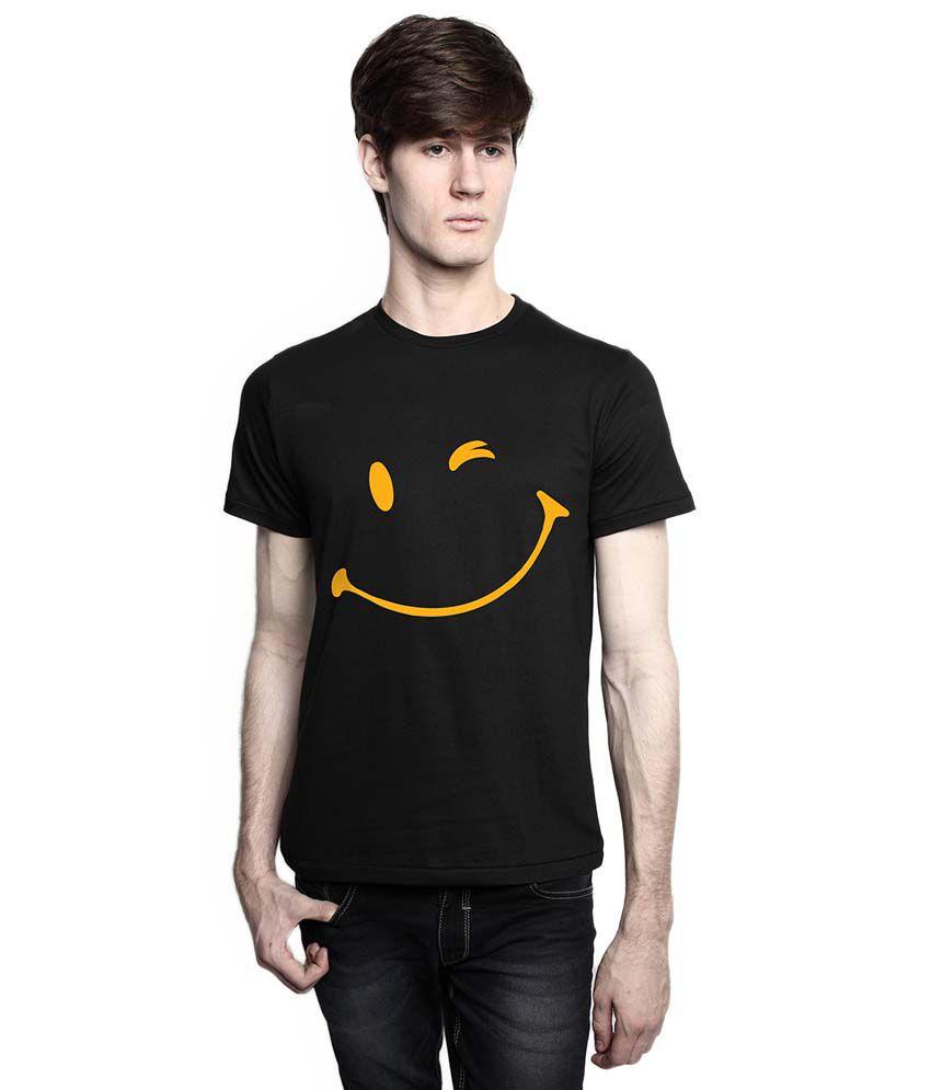 Tomo Black Cotton Half Sleeve Printed T-Shirt