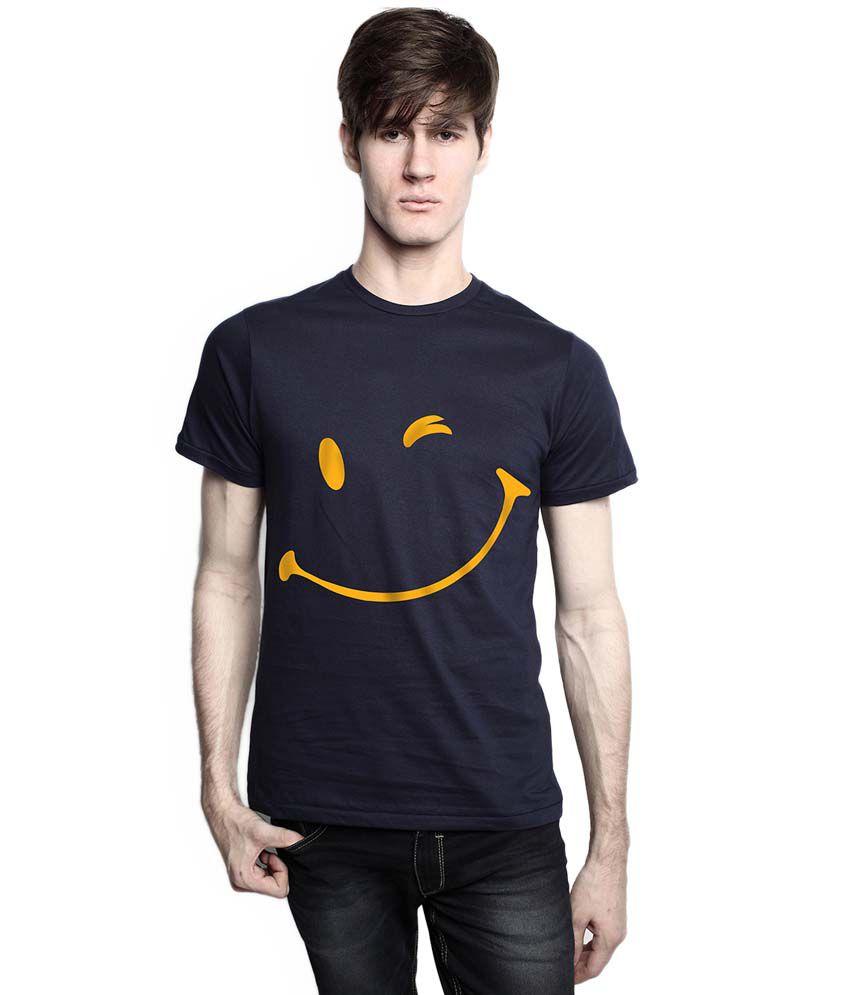 Tomo Navy Blue Cotton Half Sleeve Printed T-Shirt