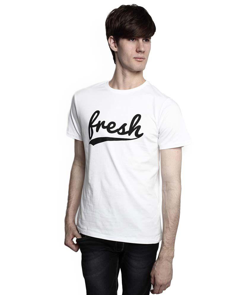 Tomo White Cotton Half Sleeve Printed T-Shirt