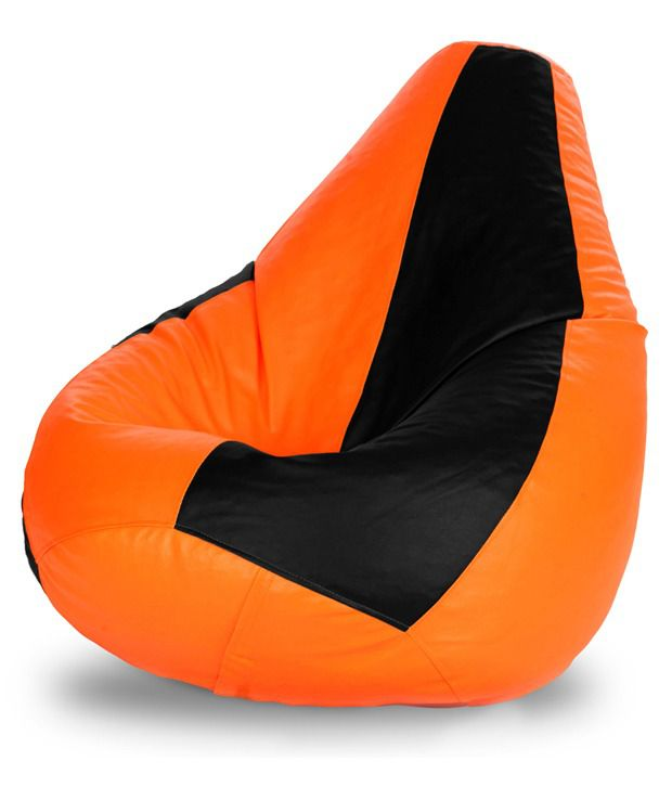 XXL Bean Bag with Beans in Black and Orange