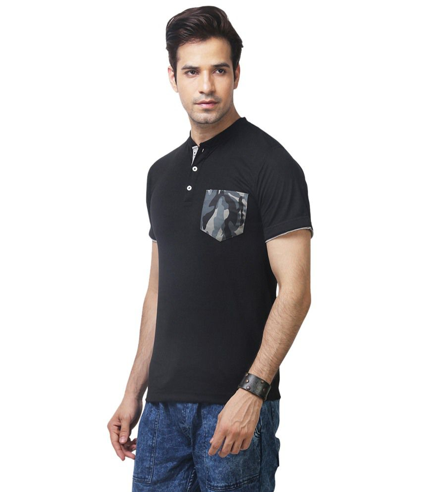 Black t shirt yepme -  Yepme Black Garrix Henley Basics T Shirt For Men
