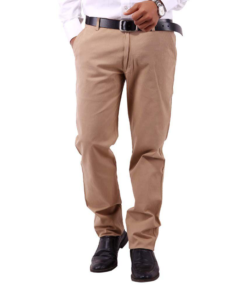 Colorzone Men's Formal Wear Khaki Cotton Trouser