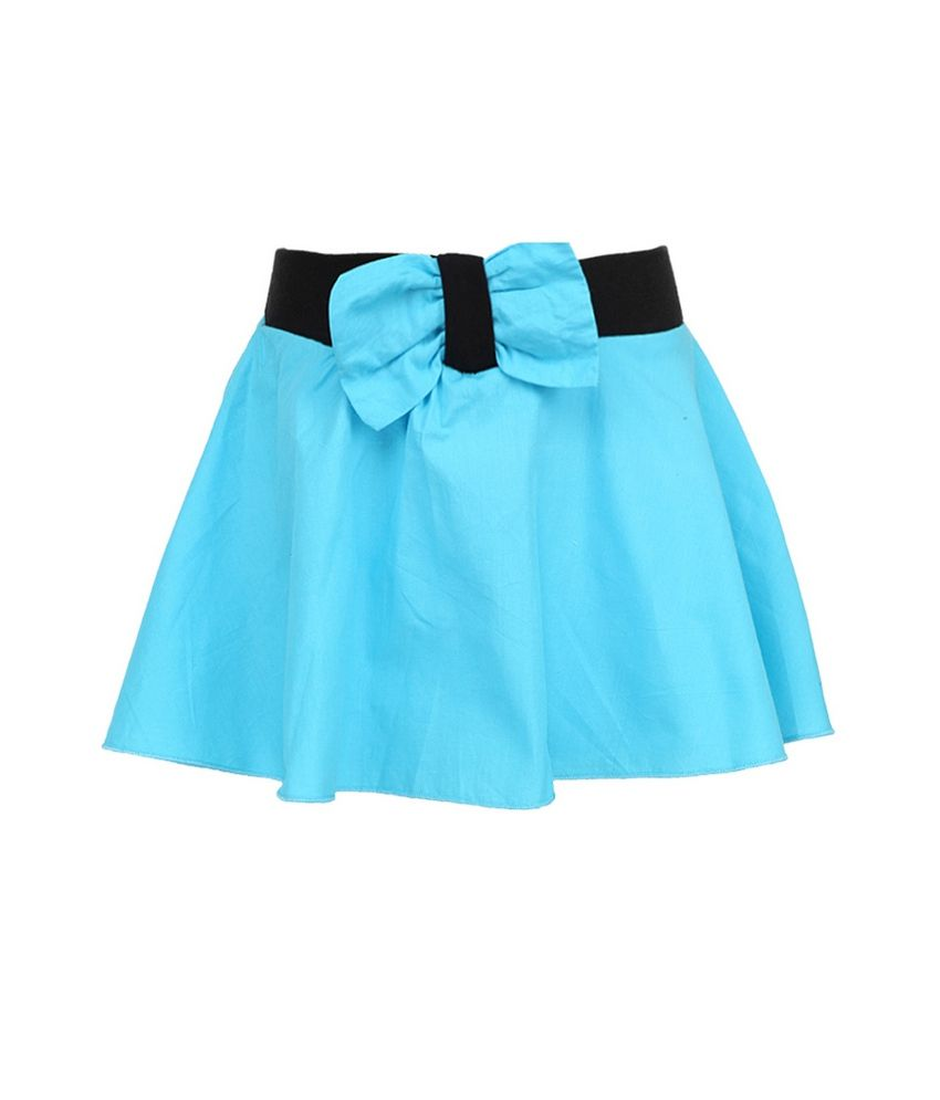 Cool Quotient Turquoise Bow Flair Rib Waist Shorts For Kids