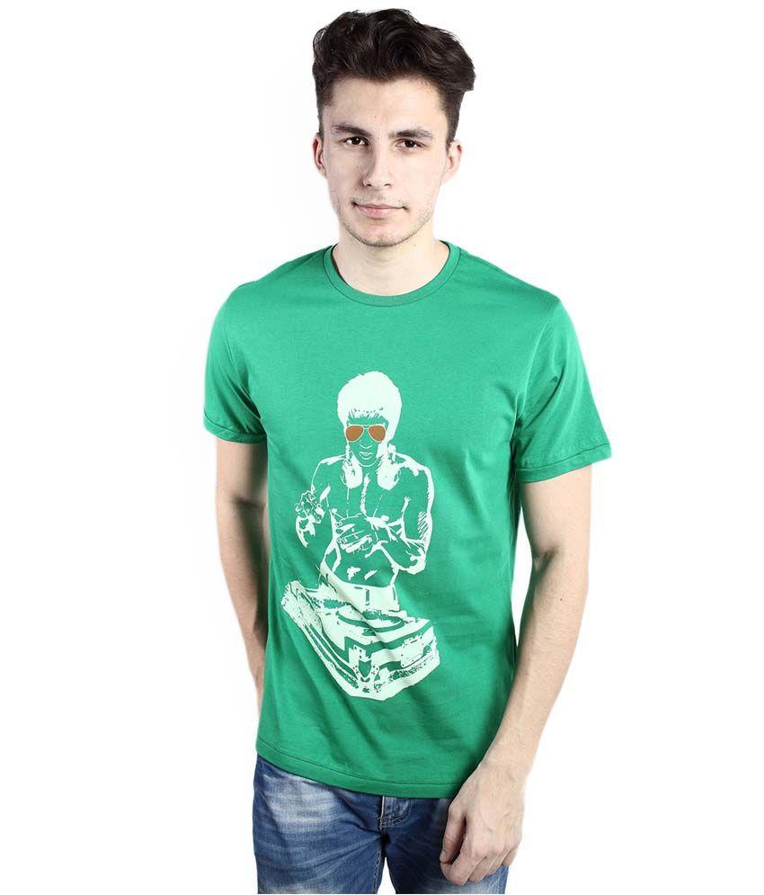 Tomo Green Cotton Printed Round Neck T-Shirt