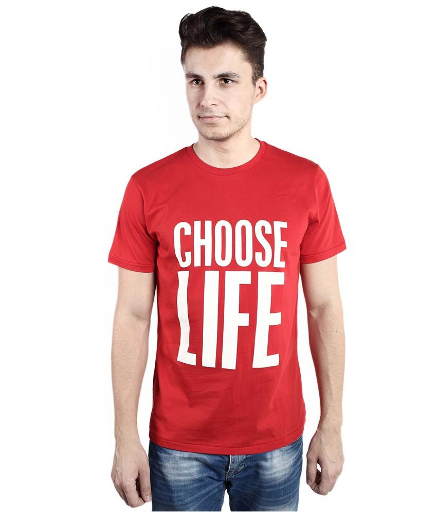 Tomo Red Cotton Printed Round Neck T-Shirt