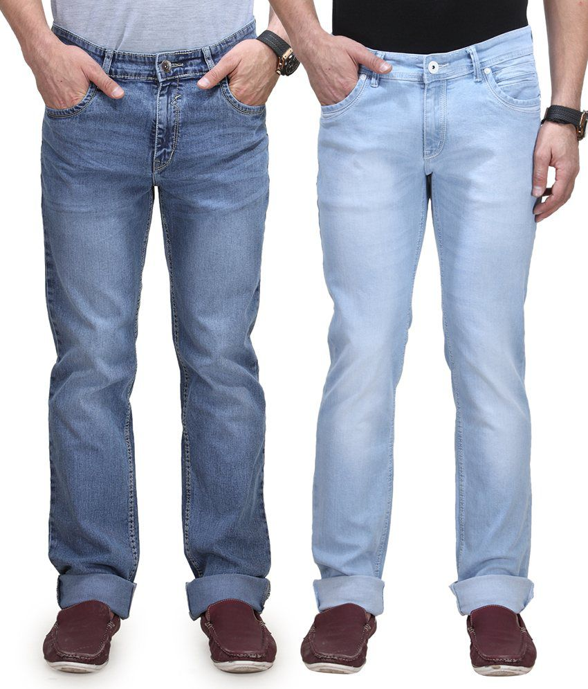 Vintage Blue Jeanswear Cotton Regular Fit Jeans - Pack Of 2