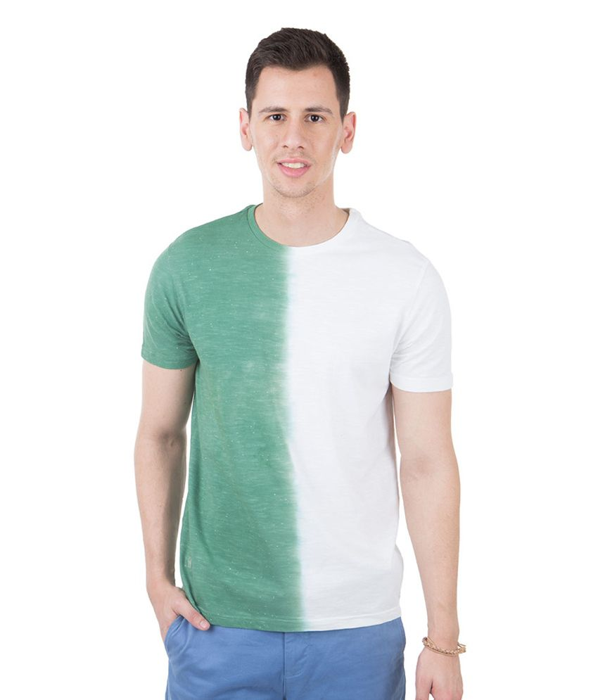 Freecultr Baronique Green & White Half Sleeves Cotton Round Neck T-Shirt