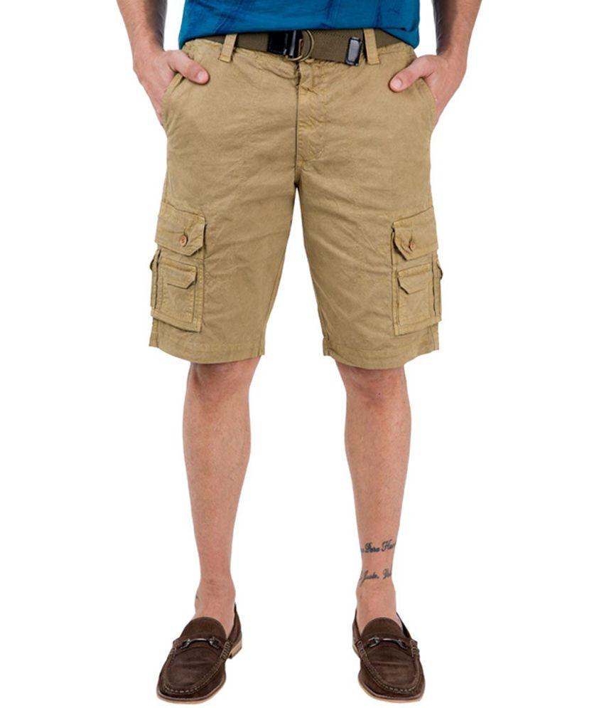 Freecultr Beppe Khaki Cotton Mens Casual Shorts