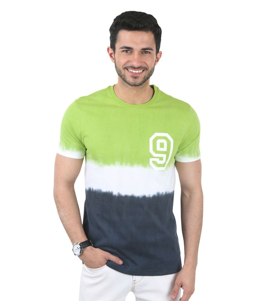 Freecultr Clement Green & Blue Half Sleeves Cotton Round Neck T-Shirt