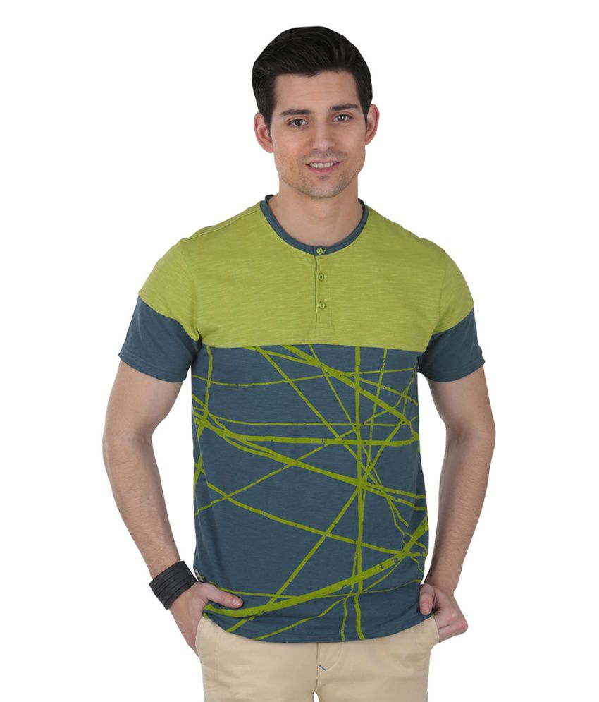 Freecultr Leroy Green Half Sleeves Cotton Henley T-Shirt