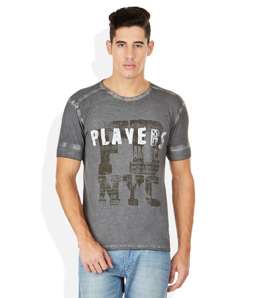 John Players Gray Round Neck T Shirt