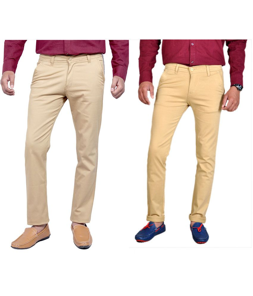 Routeen Cotton Lycra Slim Fit Casual Chinos Trouser - Beige, Tan (pack of 2)