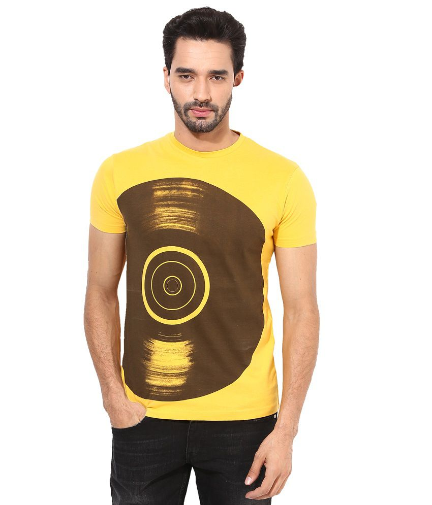 Monteil & Munero Yellow & Brown Cotton Round Neck
