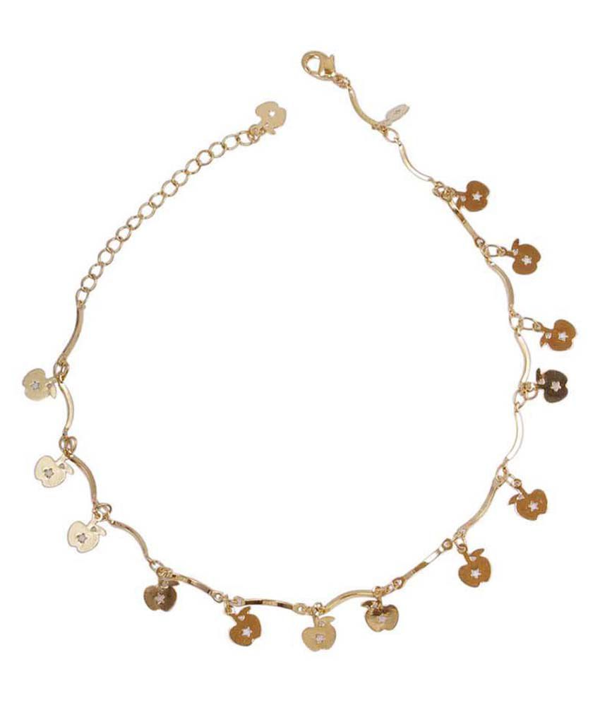 Much More Exclusive Gold Plated Partywear Single Anklet/Payal For Women Jewelry