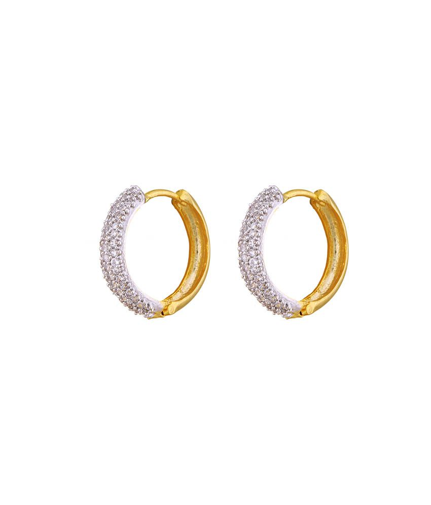 Dzzleme Golden Cz Studded Daily Wear Hanging Earrings