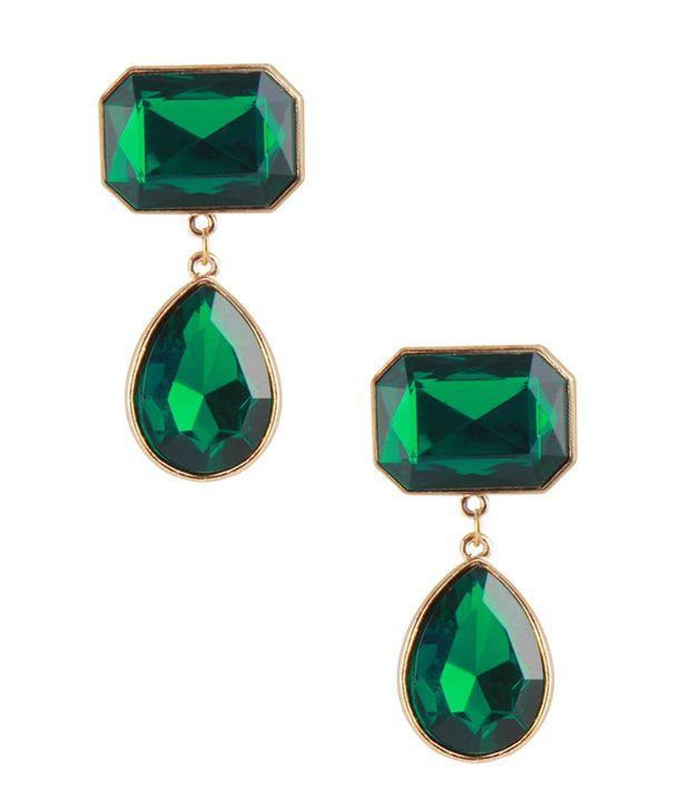 Jewelizer Green Designer Alloy Earrings