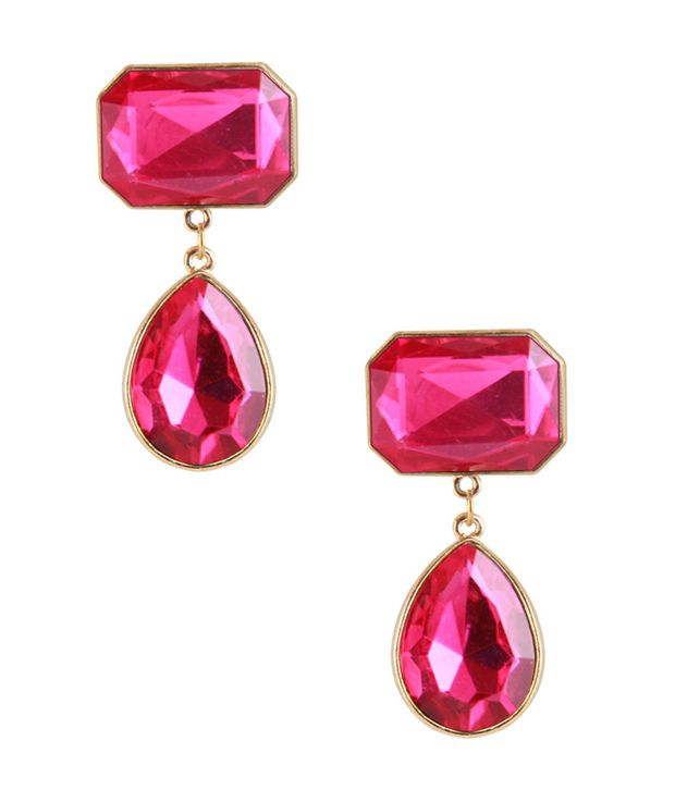 Jewelizer Pink Designer Alloy Earrings
