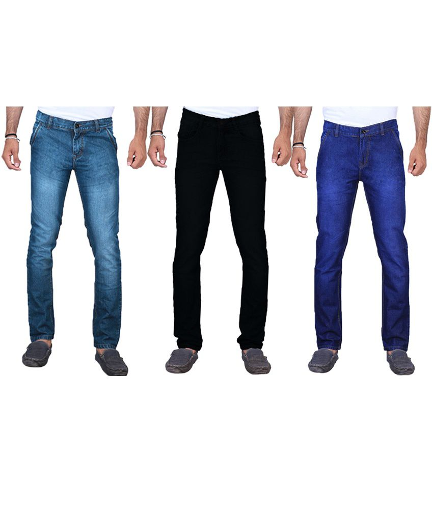 Ave Multicolour Cotton Regular Fit Faded Jeans - Pack Of 3