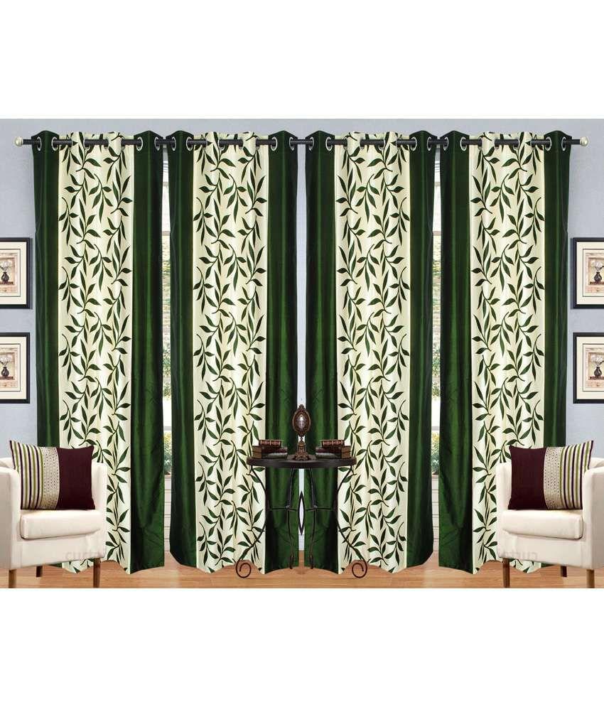 Handloom Hut Set of 4 Door Eyelet Curtains Contemporary Green