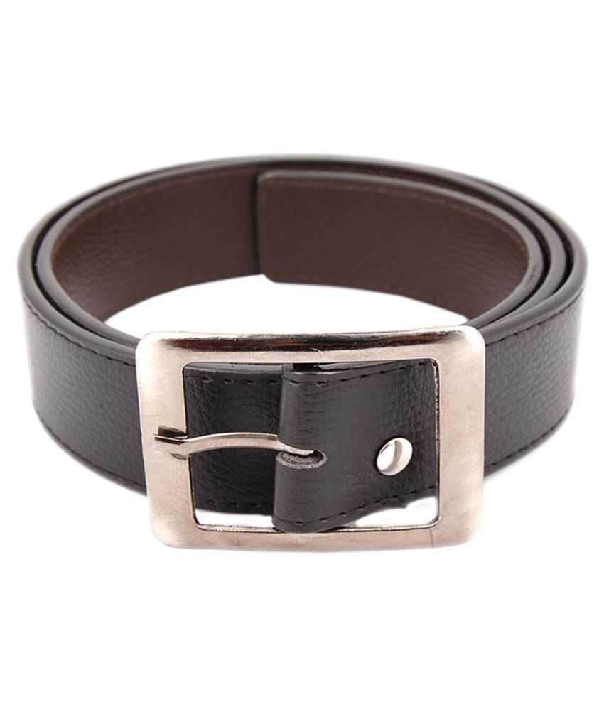 Kesari Black Leather Textured Belt with Pin Buckle
