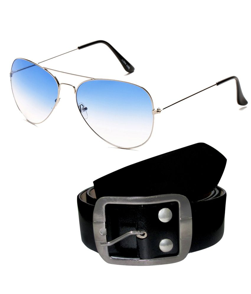 Neolithic Combo Of Blue Medium Men Oval Sunglasses With Belt