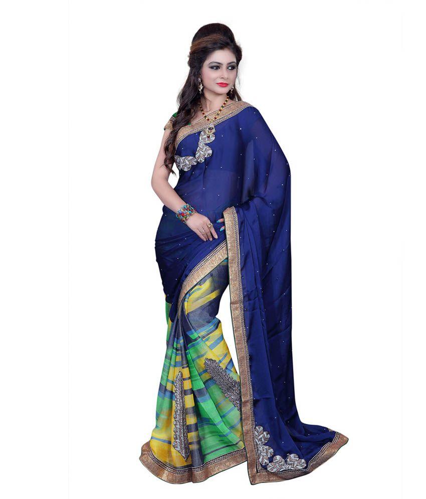 Shree Ram Krishna Fabrics Blue Bhagalpuri Silk Saree