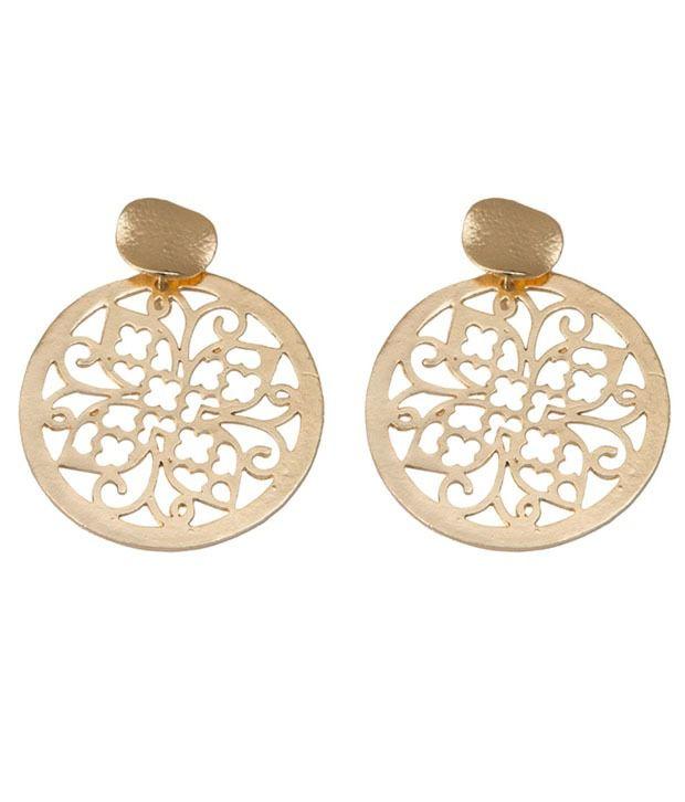Taj Pearl Golden Alloy Style Diva Drop Earrings