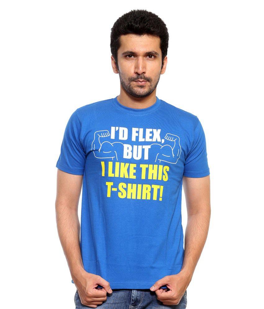 Teestory.in Blue Cotton Round Neck Half Sleeve T-Shirt