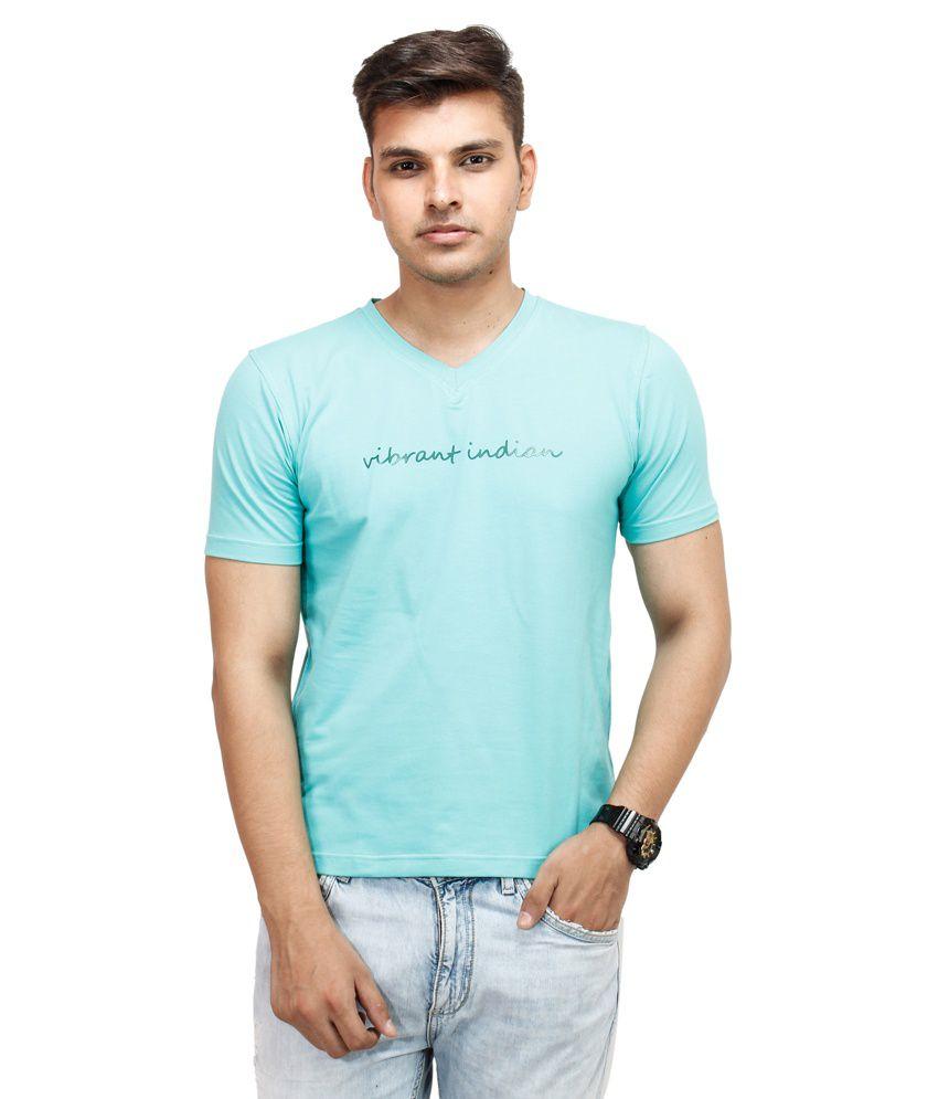Yuvi Blue Cotton Blend V-Neck Half Sleeves T-Shirt