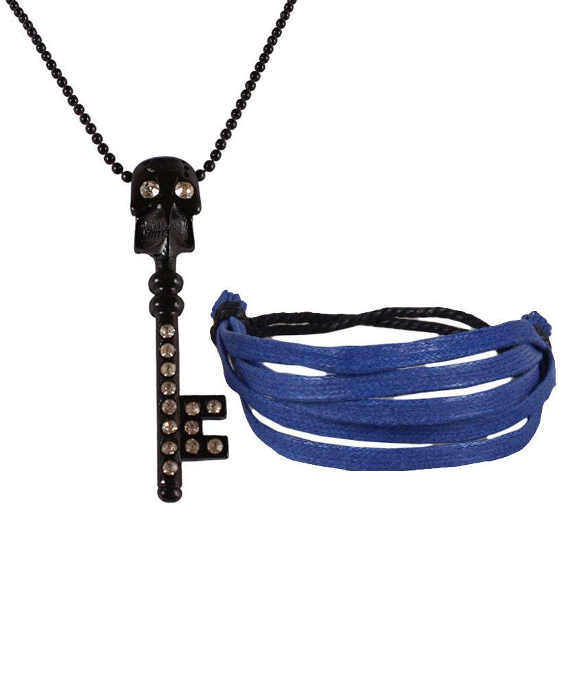 Jstarmart Colour Spark Black Men Necklace Combo