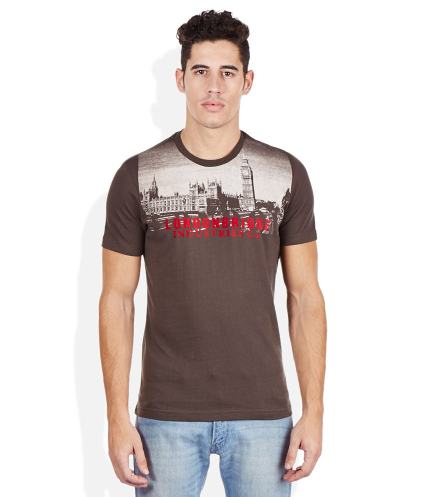 London Bridge Brown Round Neck T Shirt
