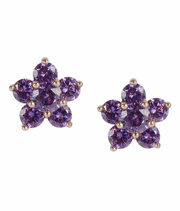 Much More Gorgeous Flower Design Purple Colour Gold Plated Fashion Tops Earring For Women Jewelry