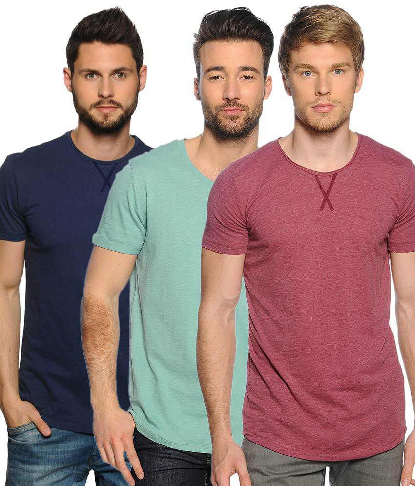 Zachi Mind Blowing Multi-coloured Pack of 3 Half Sleeve T Shirts for Men