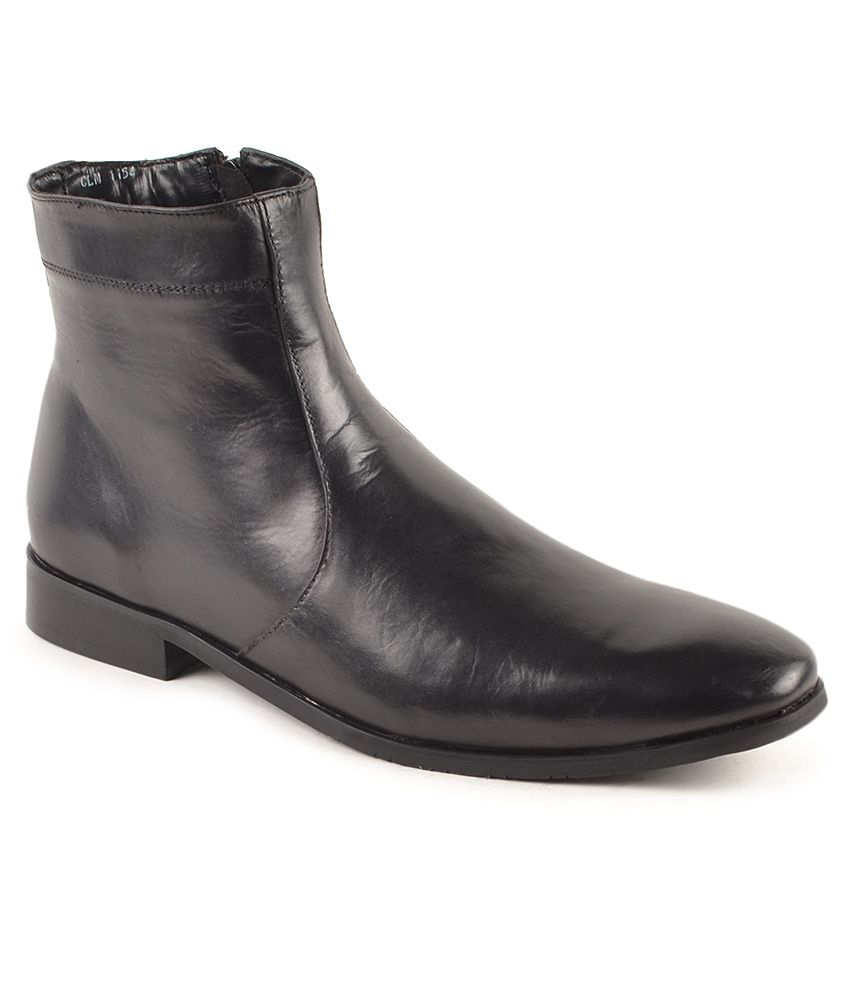 Carlton London Black Zipper Boots