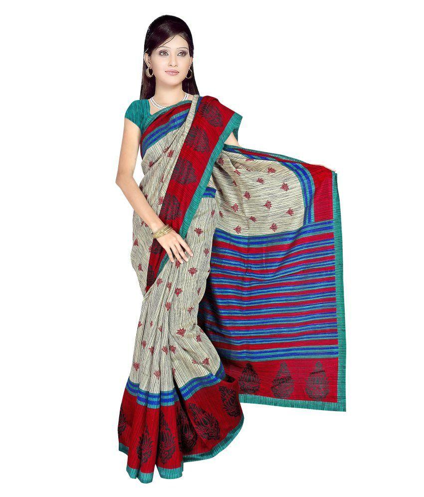 Shyam Silk Fabrics Multicoloured Gicha Saree