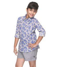Citypret Blue Cotton Printed Shirt