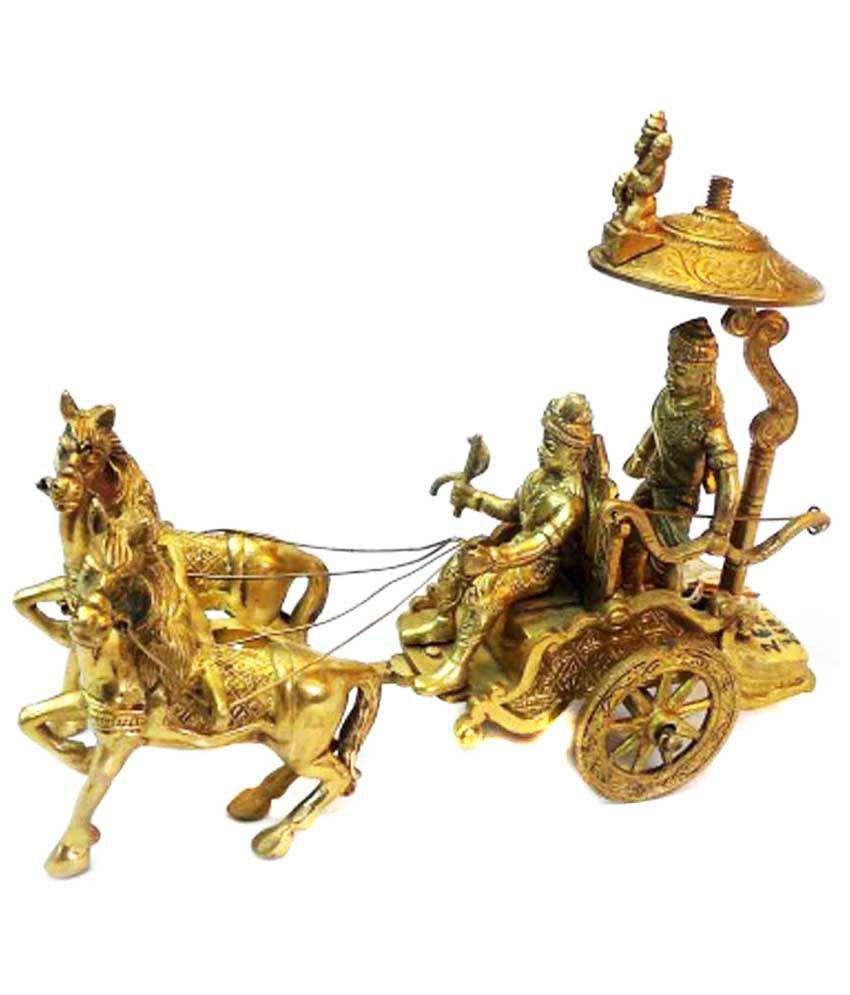 Aakrati Yellow Horse Cart Arjun Rath Made Of Brass Metal For Home Decoration