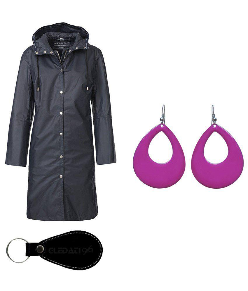 Gledati Black Polyester Combo Of Raincoat & Dangler Earring