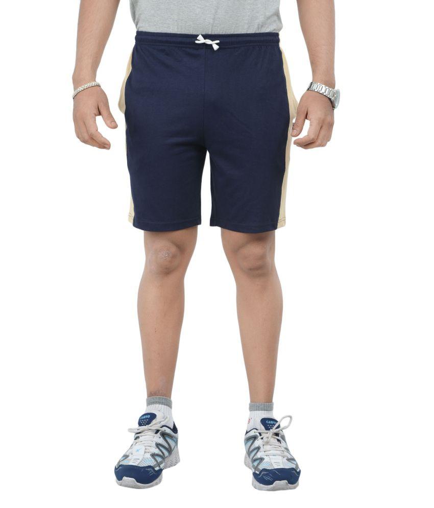 Teestadka Light Blue And Yellow Cotton Sports Shorts