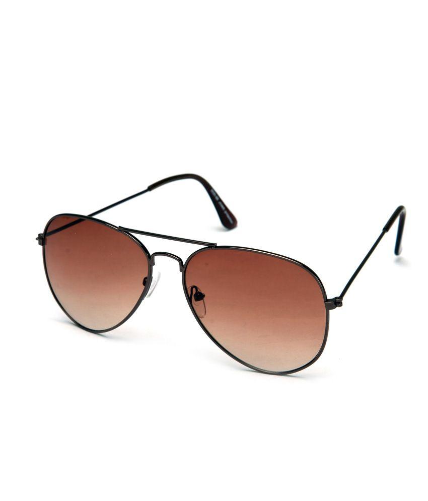 ABAZY Brown Aviator Unisex Sunglasses