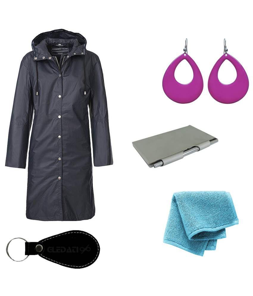 Gledati Black Polyester Combo Of Raincoat, Towel Handkerchief, Aluminium Case Pocket Diary & Dangler Earring