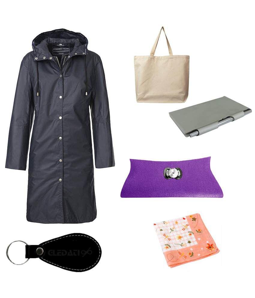 Gledati Black Polyester Combo Of Raincoat, Handkerchief, Aluminium Case Pocket Diary, Clutch & Ladies Hand Bag