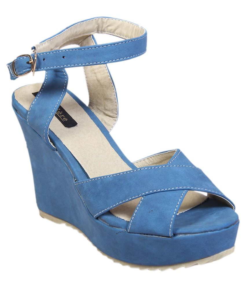 Lumiere Blue Open Toe Ankle Strap Wedges