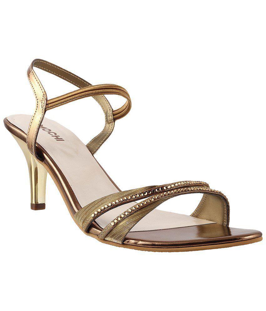 57939e992 Mochi Golden   Beige Party Wear Heeled Sandals for Women Price in India-  Buy Mochi Golden   Beige Party Wear Heeled Sandals for Women Online at  Snapdeal