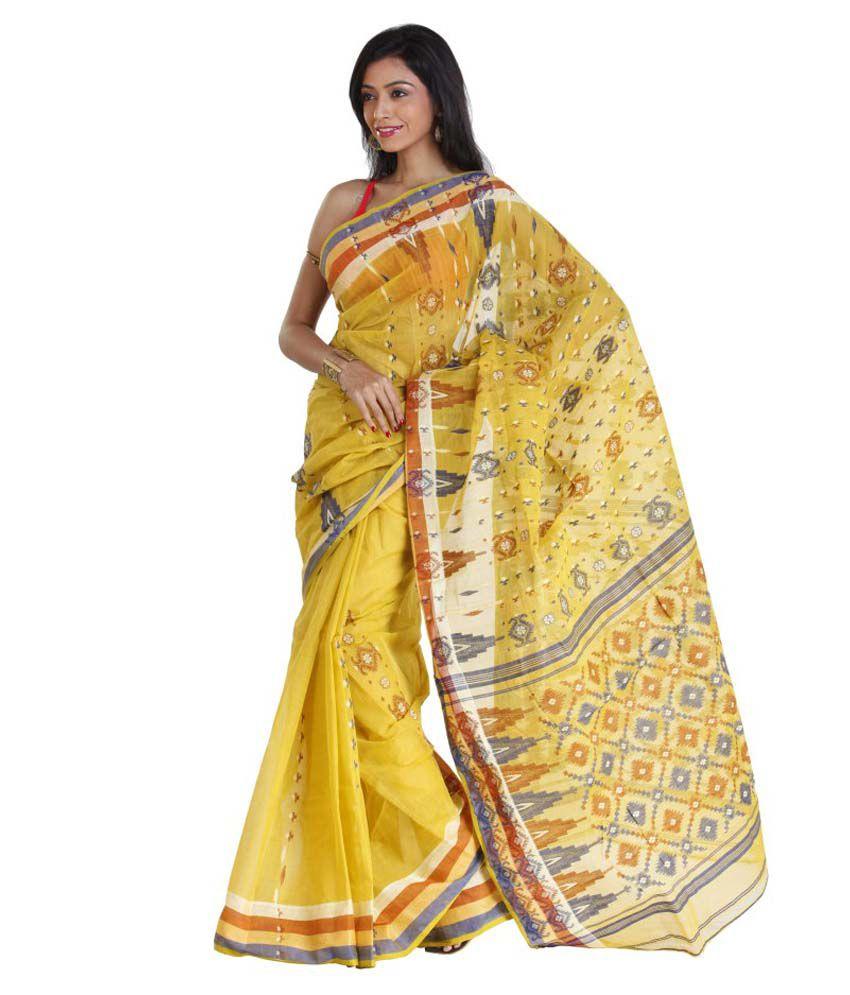 Sanrocks Global Fashions Yellow Cotton Saree