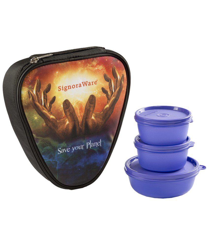 Signoraware Purple Galaxy Sleek Lunch Box with Bag